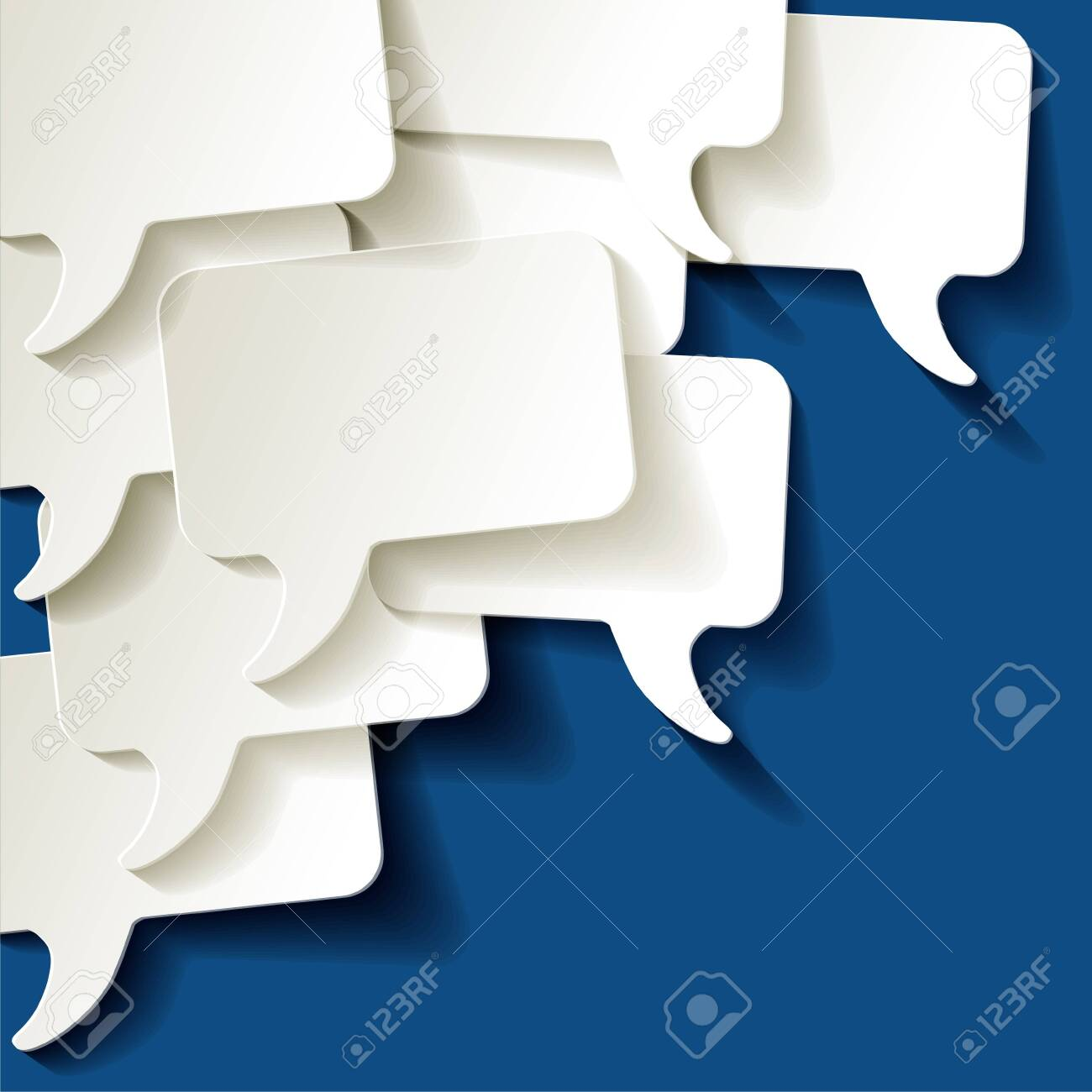 Chat speech bubbles vector ellipse white on a color of the year 2020 Classic Blue background - 140857381