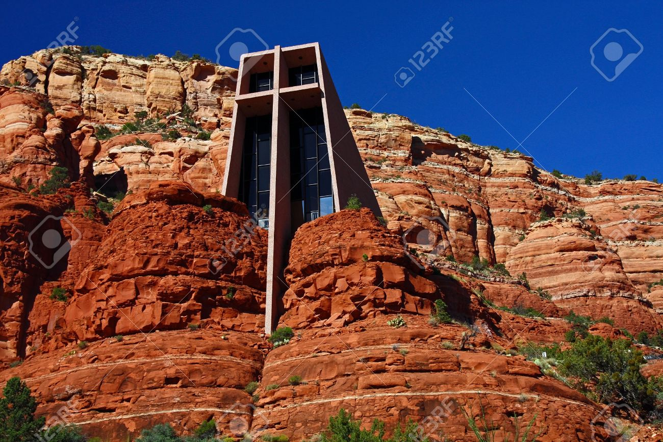 Outside View Of The Chapel Of The Holy Cross In Sedona, Arizona Designed By  A