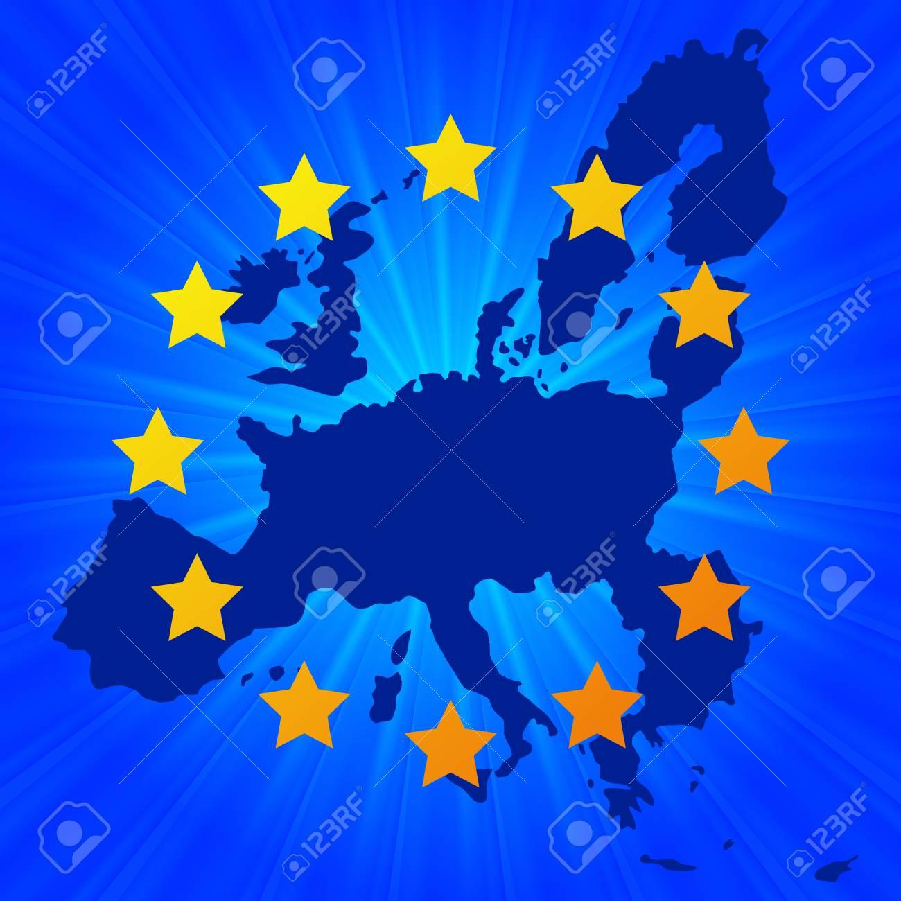 ヨーロッパ連合は、輝く星の背景...