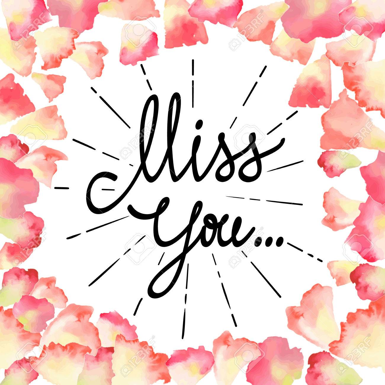 Vintage watercolor greeting card with floral petals miss you vintage watercolor greeting card with floral petals miss you with place for your text kristyandbryce Image collections