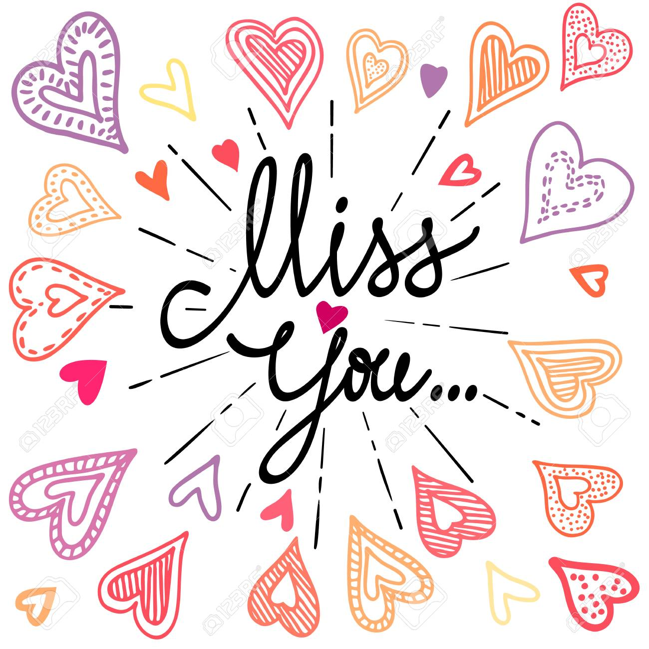 Vintage Greeting Card With Colorful Doodle Hearts Miss You With
