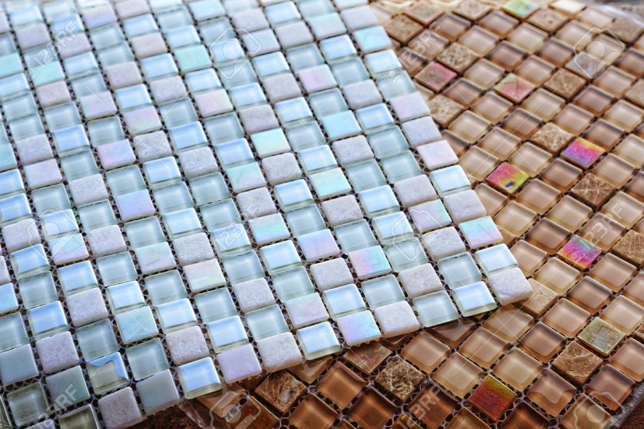 Sheets Of Glass Tile Mosaic. Close-up Textute. Selective Focus ...