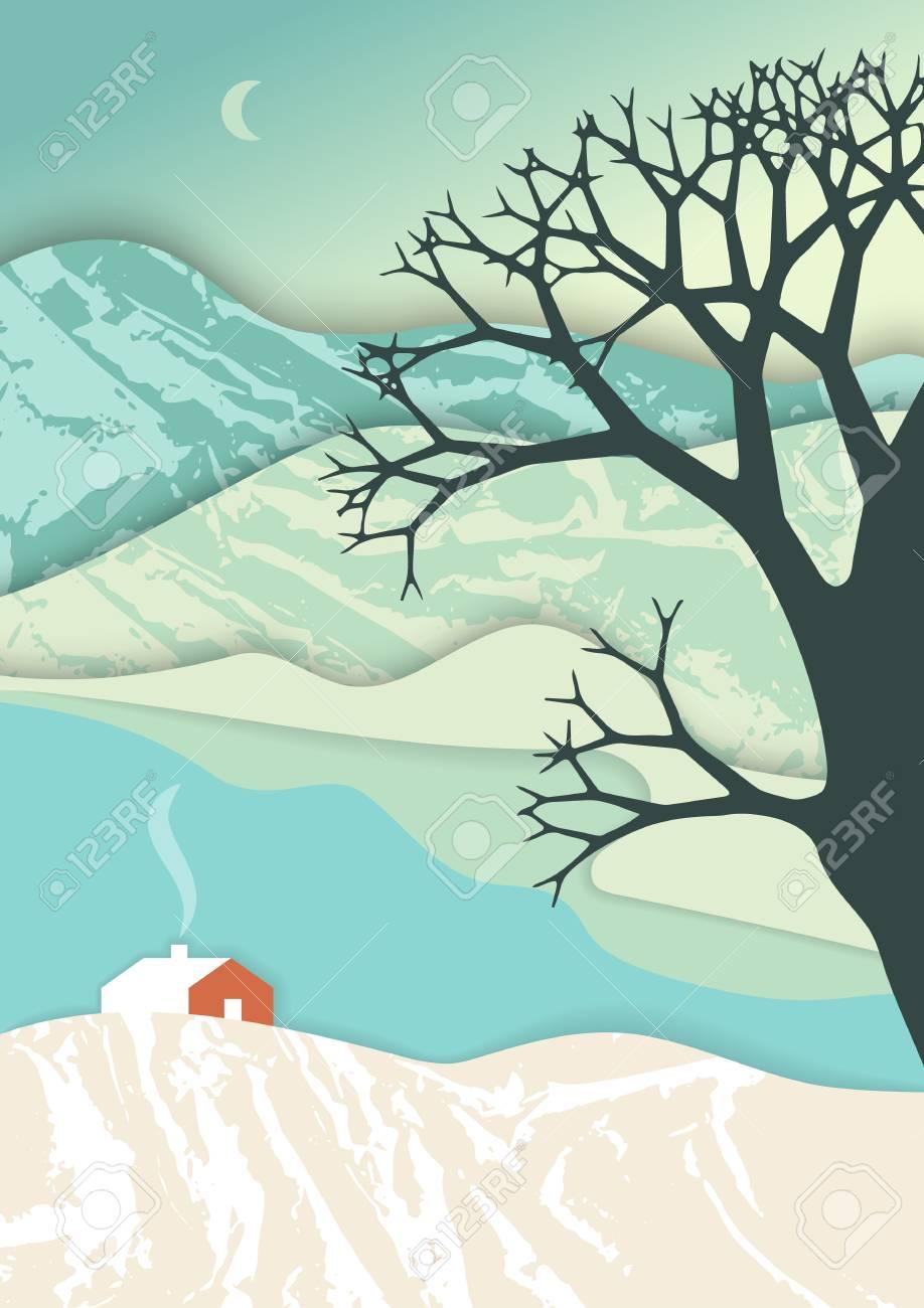 Paysage De Montagne Dans Un Style Art De Couche Illustration De