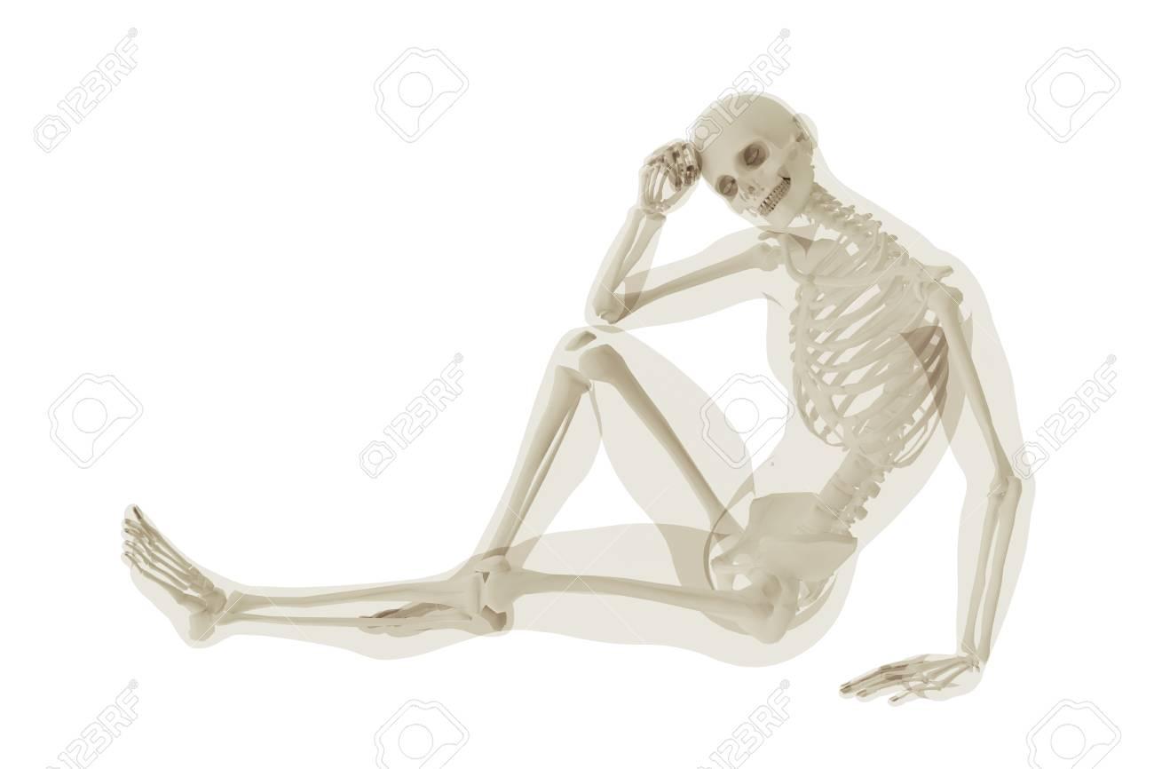 Sitzen Skelett Und Eine Silhouette Des Körpers Eines Menschen. 3D ...