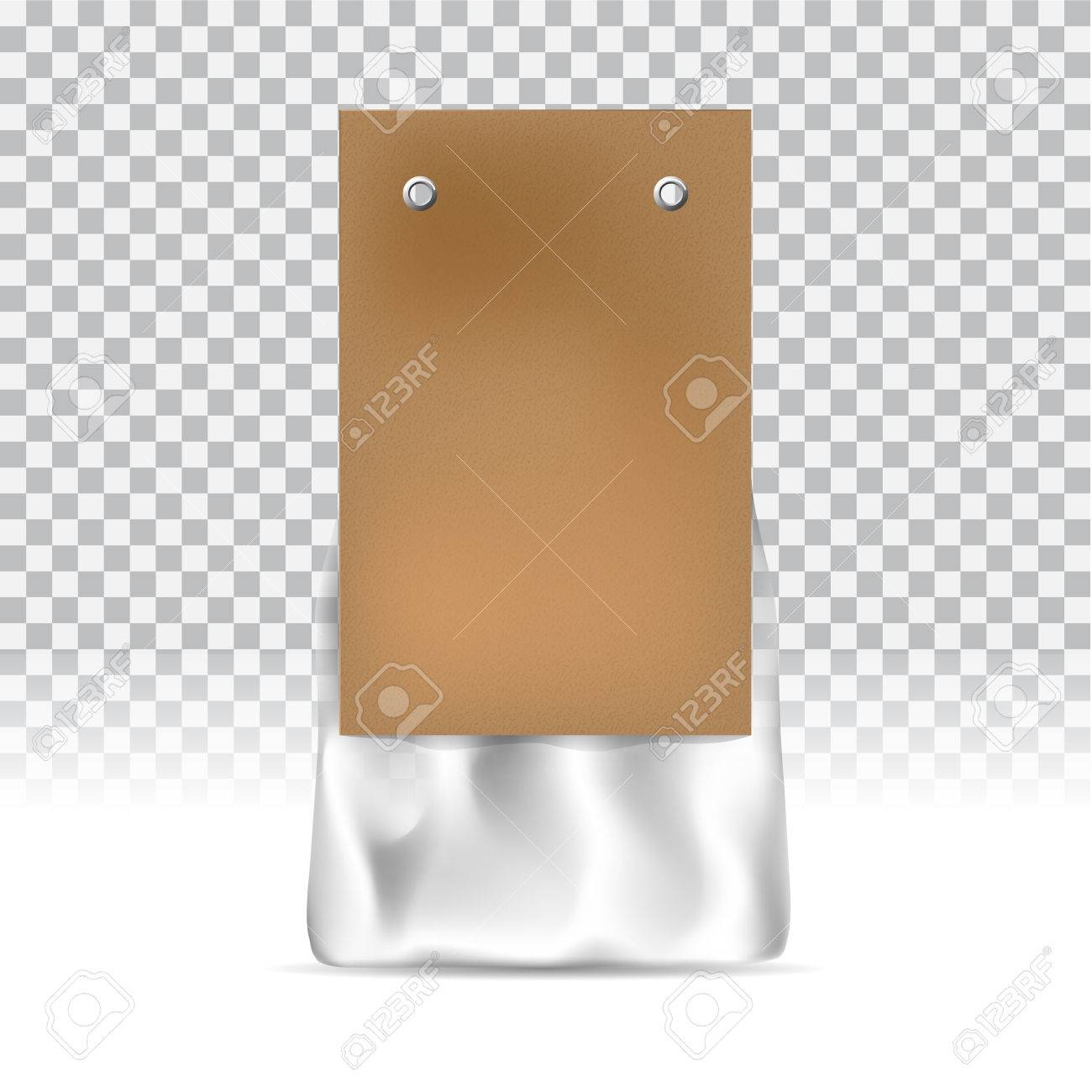 8f2d00ab5e38d Food snack pack on transparent background. Craft paper and packing tape.  Blank packaging mock