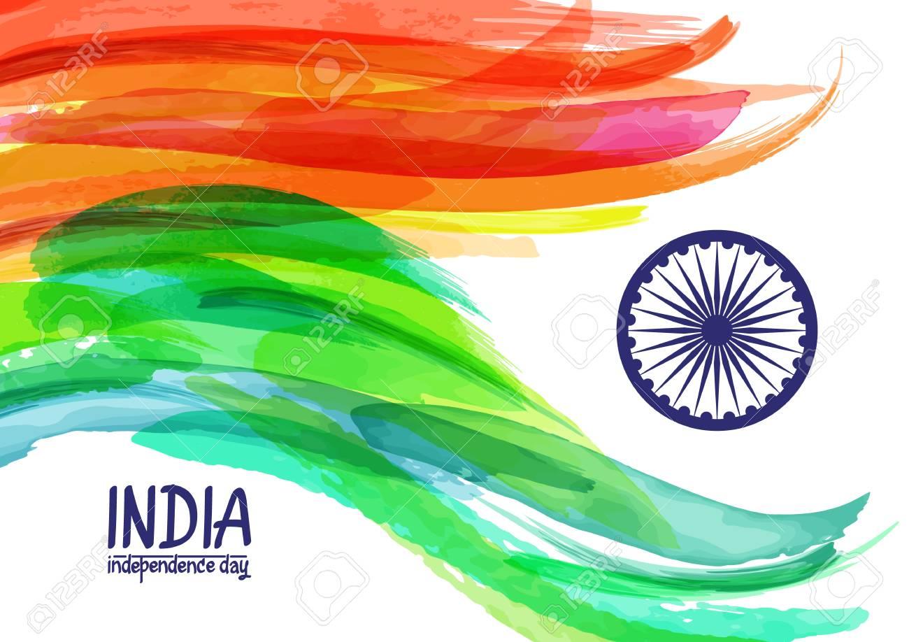 Pintado A Mano Acuarela Digital Bandera De La India. Plantilla Para ...
