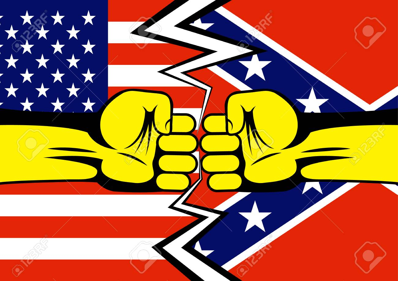 Two Fists Against The Background Of The American And Confederate