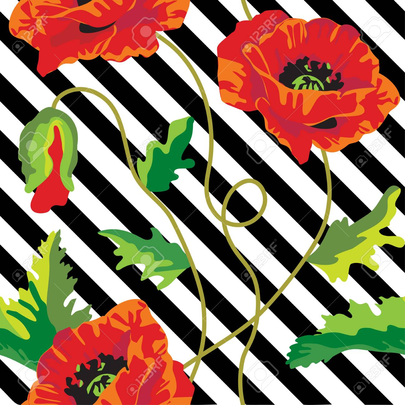 Seamless Vector With Poppy Flowers On Black And White Stripes