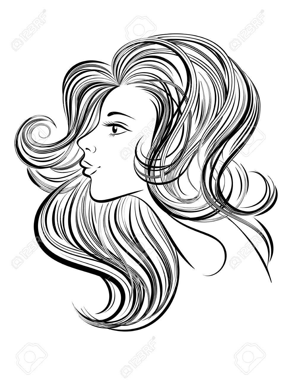 Portrait Of Young Beautiful Woman With Long Hair Hand Drawn Stock
