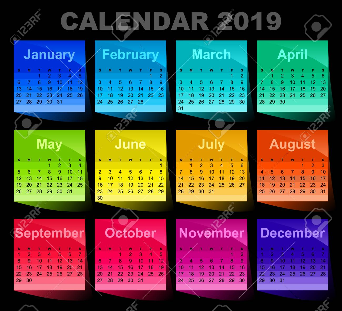 calendar for 2019 year colorful sticky notes colored sheets