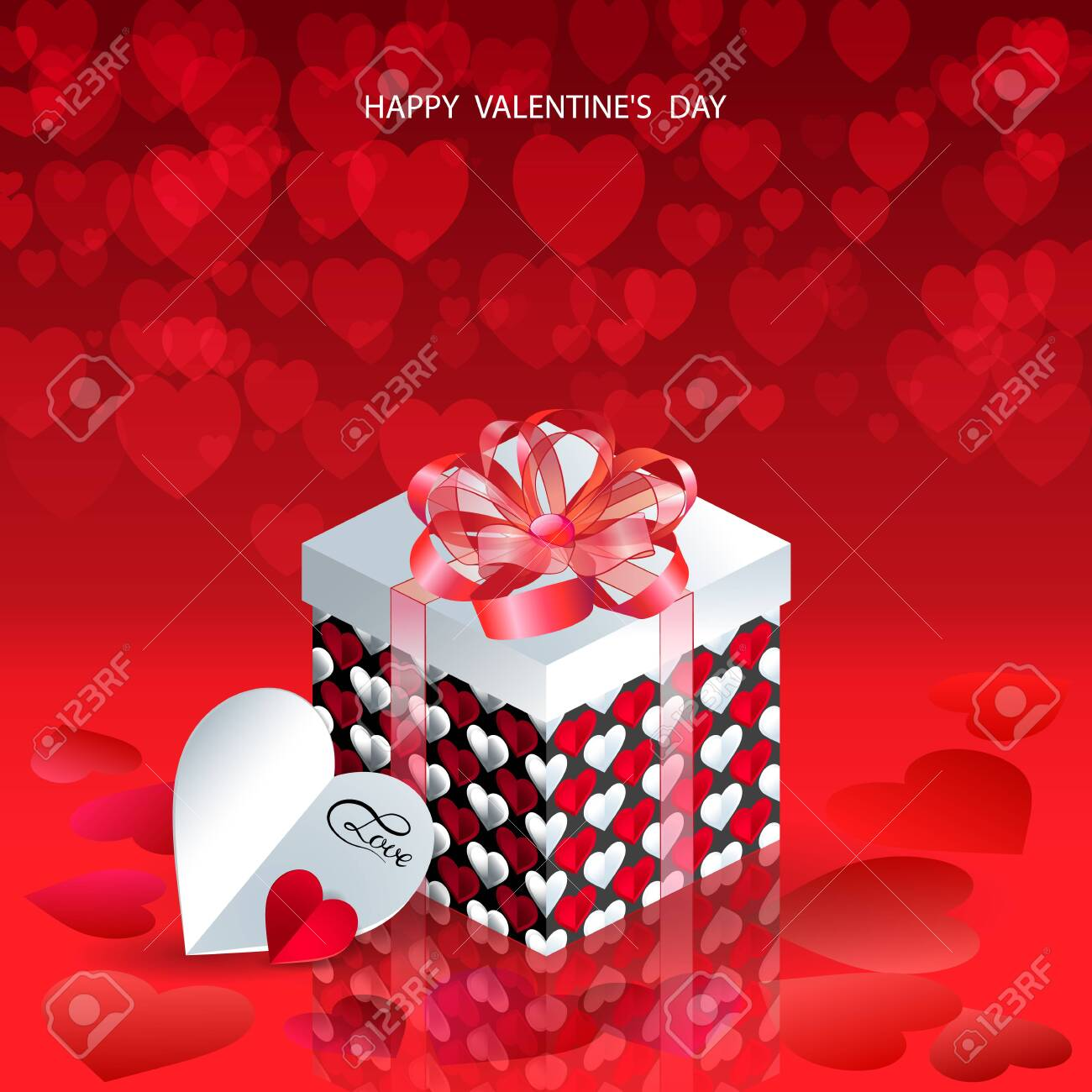 Happy Valentines Day Valentines Day Gift Box Red Hearts Coming Stock Photo Picture And Royalty Free Image Image 121768066