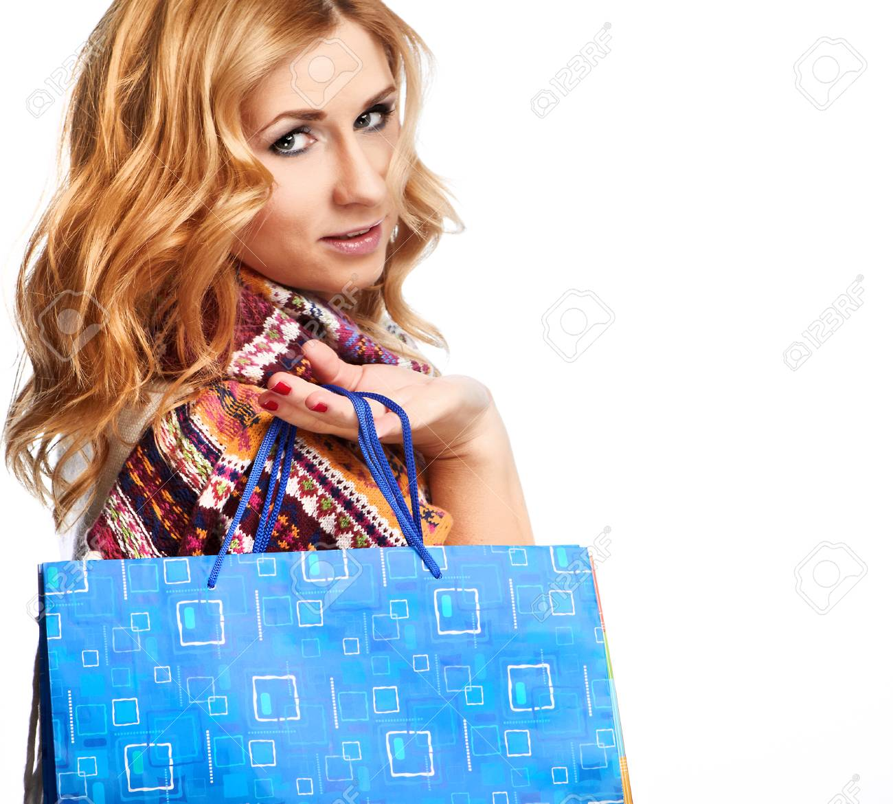 Winter and christmas shopping  Woman holding shopping bags Stock Photo - 23811287