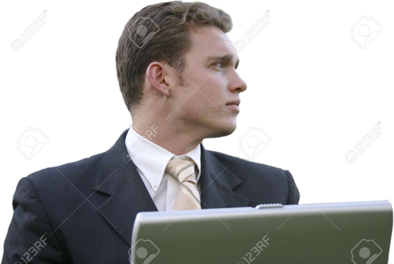 Businessman Wearing Black Suit, White Shirt, And Tan Tie Is ...