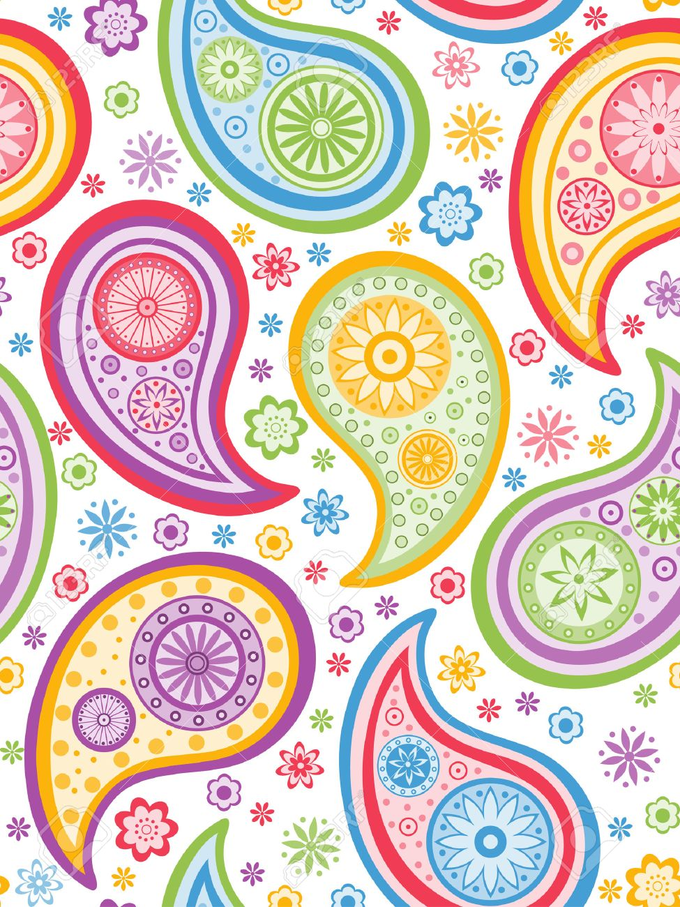 Colorful seamless background with a paisley pattern. Stock Vector - 6476123