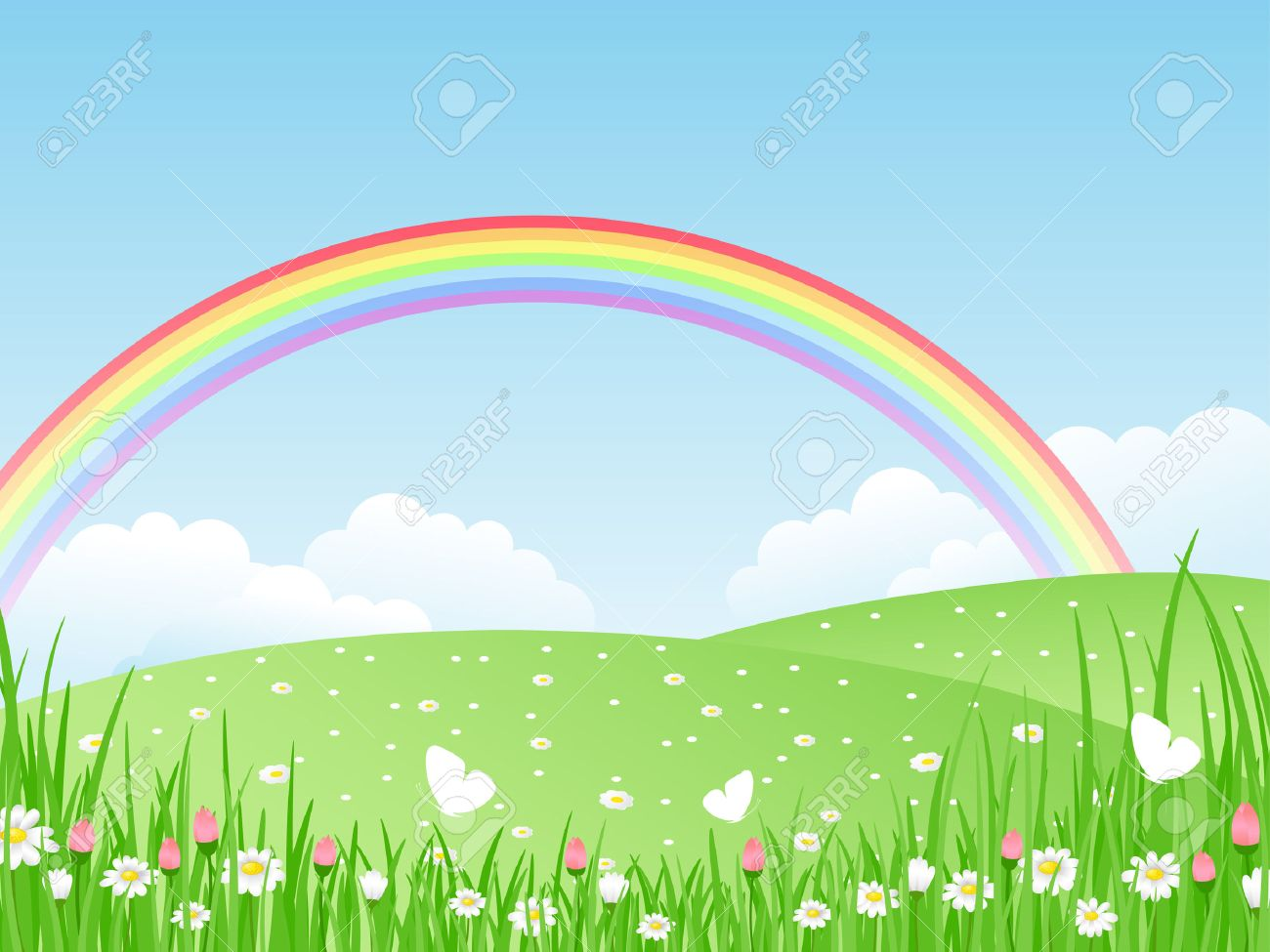 Beautiful summer landscape with rainbow. Vector illustration. Stock Vector - 8912345