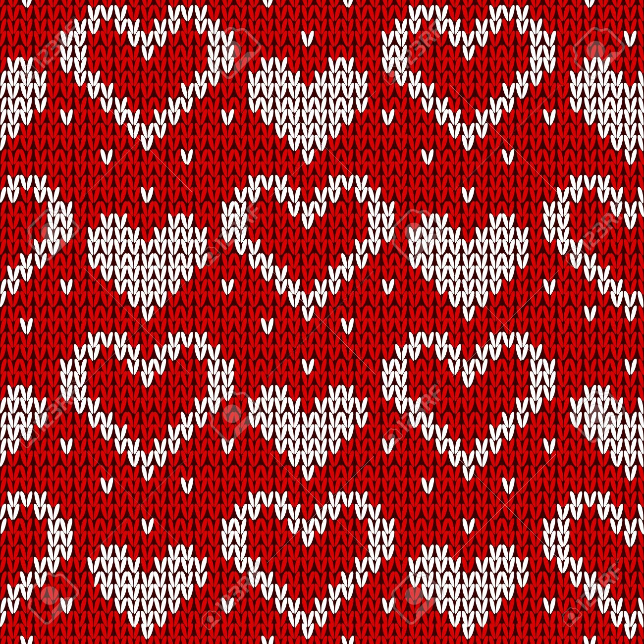 Red knitted background with hearts. Vector illustration. Standard-Bild - 11487586