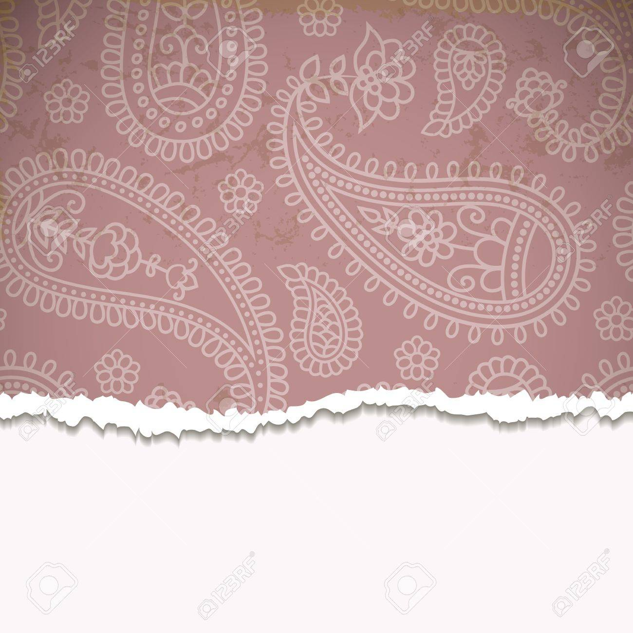 Torn paper with a paisley pattern. Retro background. Stock Vector - 14027780