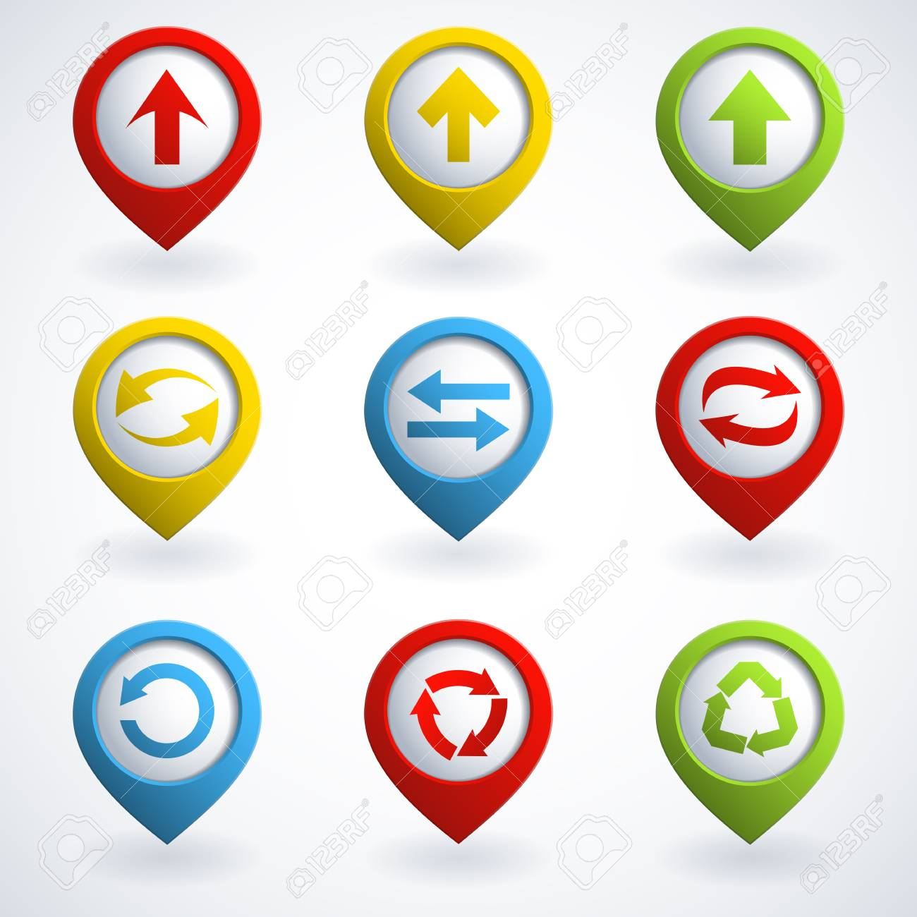 Set of colorful arrow buttons. Stock Vector - 15361391