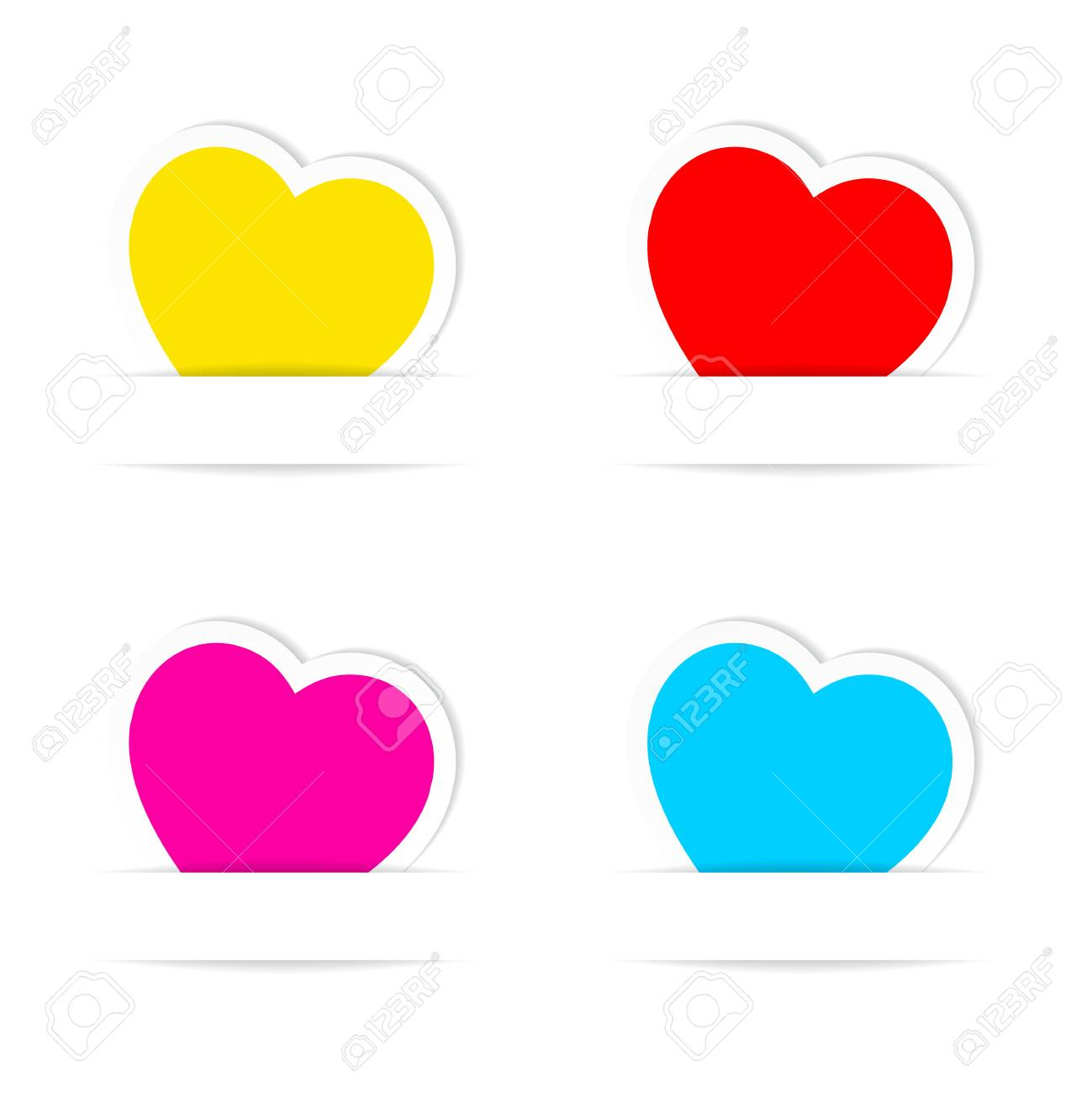 Set of Valentine's Day  heart paper frames. Stock Vector - 17155500