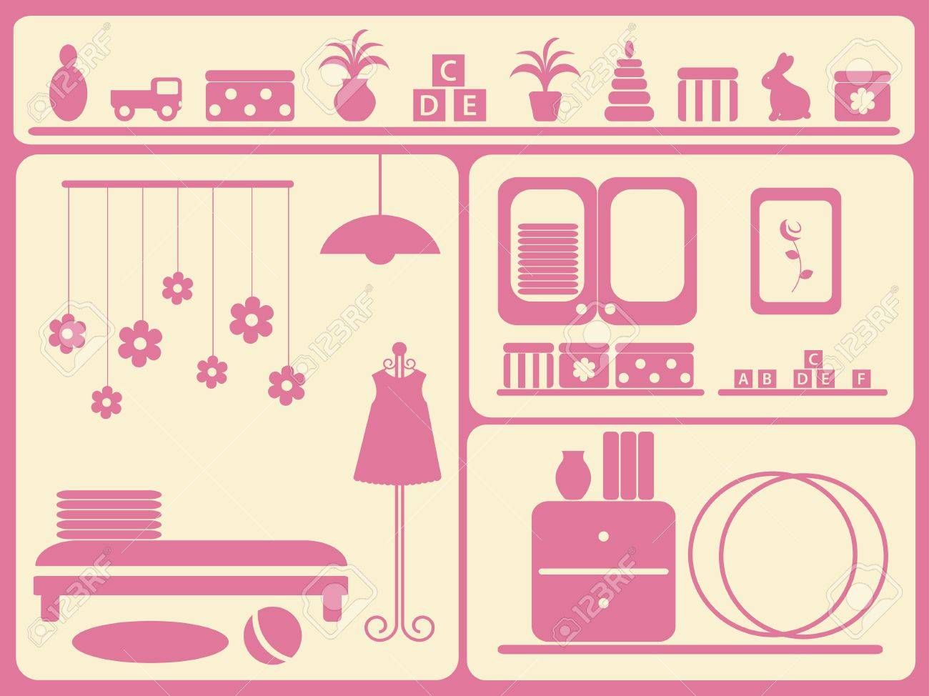 Children's room interior and objects set. Vector illustration. Stock Vector - 9292198