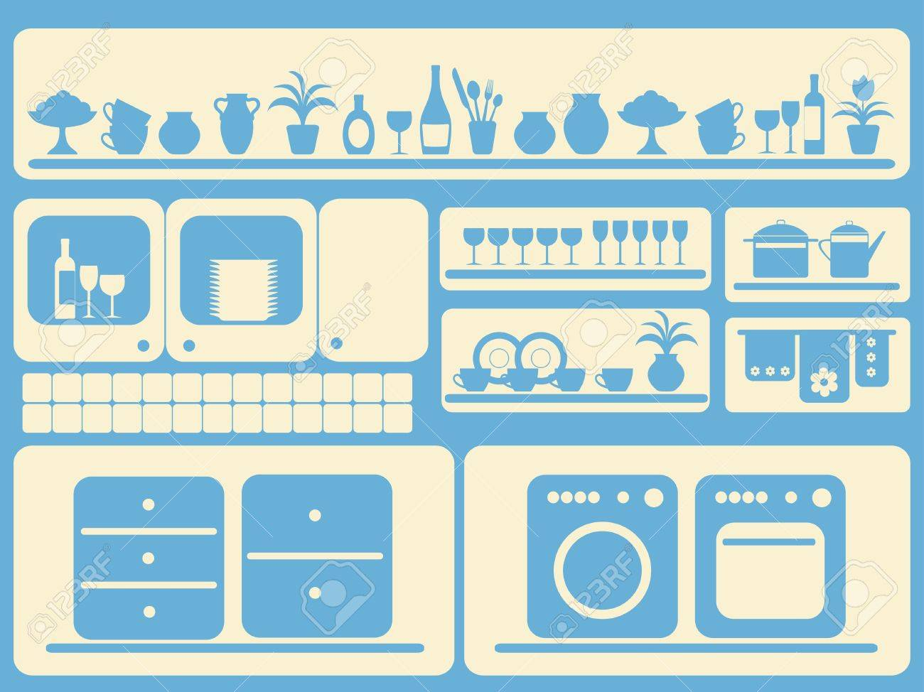 Kitchen ware and home objects set.  illustration. Stock Vector - 9292202