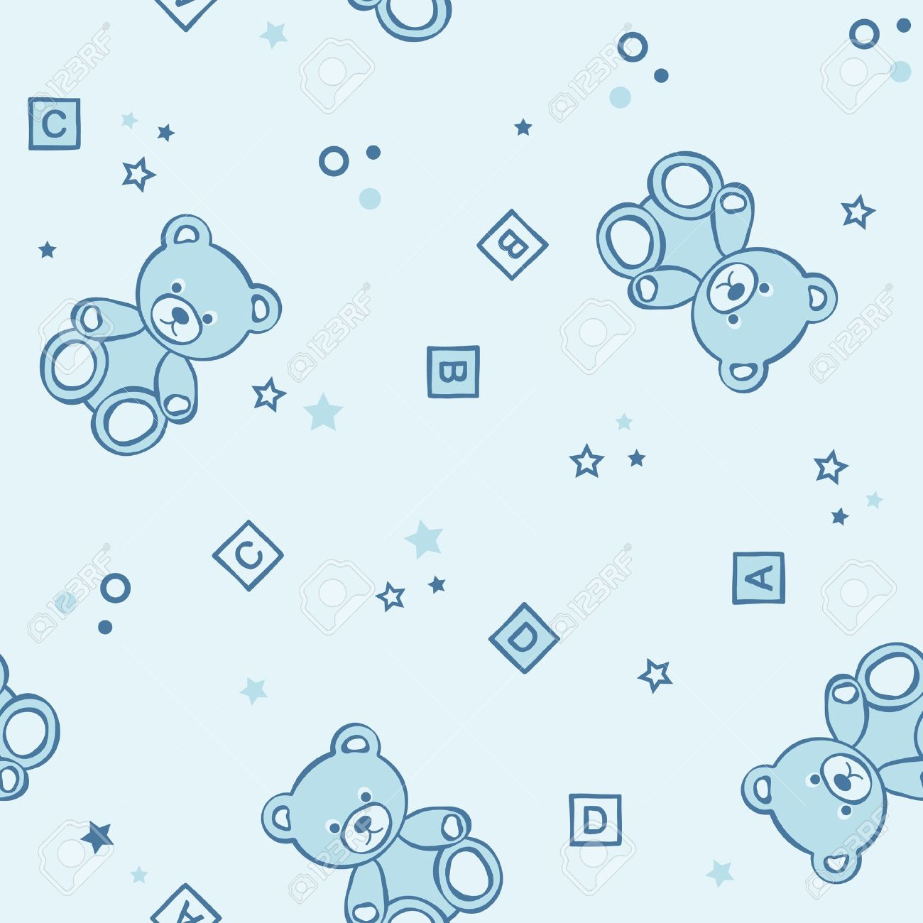 Teddy bears seamless background. Vector illustration. Stock Vector - 9400436