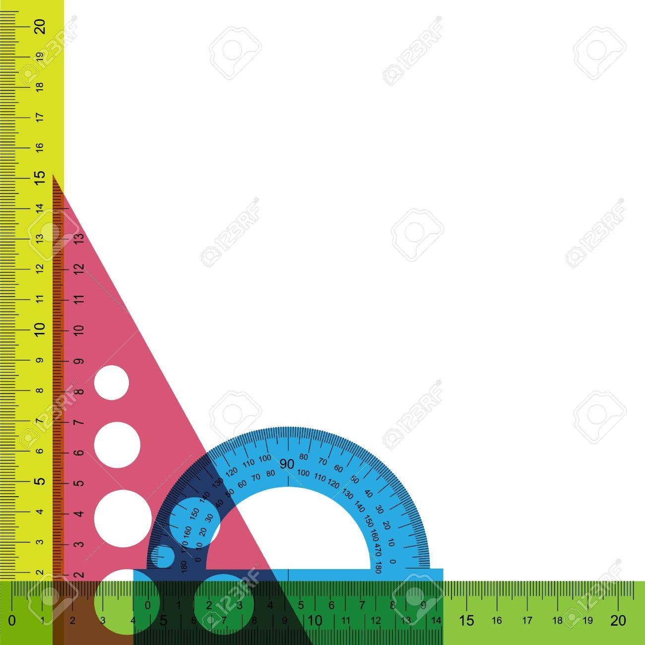 Ruler, protractor and triangle with simulated transparency. Does not contain any transparent elements. Stock Vector - 9311639