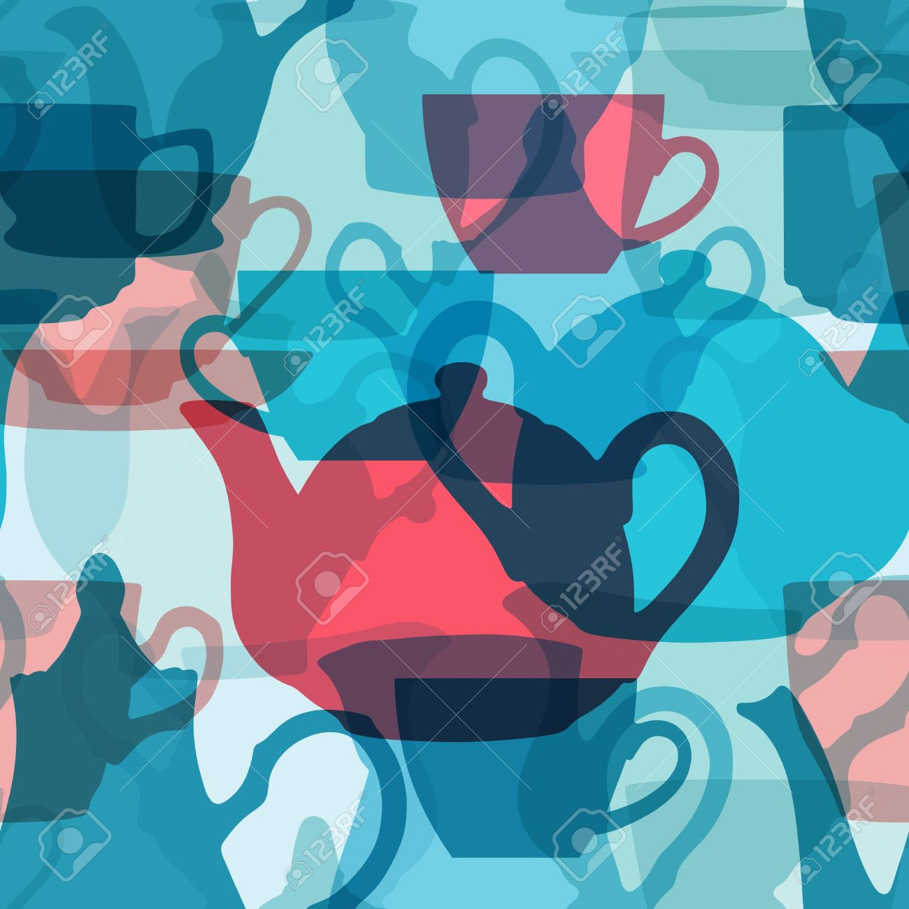 Seamless crockery background with transparency effect.   Files included:  - PNG file; - SVG file; - high resolution JPG file.  Does not contain any transparent elements.  service, blue, pink, seamless, background, patten, tile, tile-able, transparency, re Stock Vector - 9322481