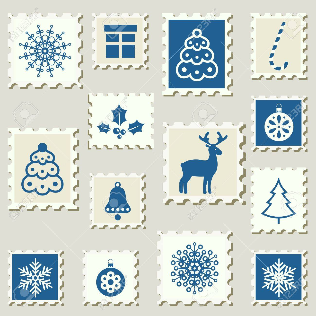 Set of poatel stamps with Christmas decoration symbols  Vector illustration Stock Vector - 15364624
