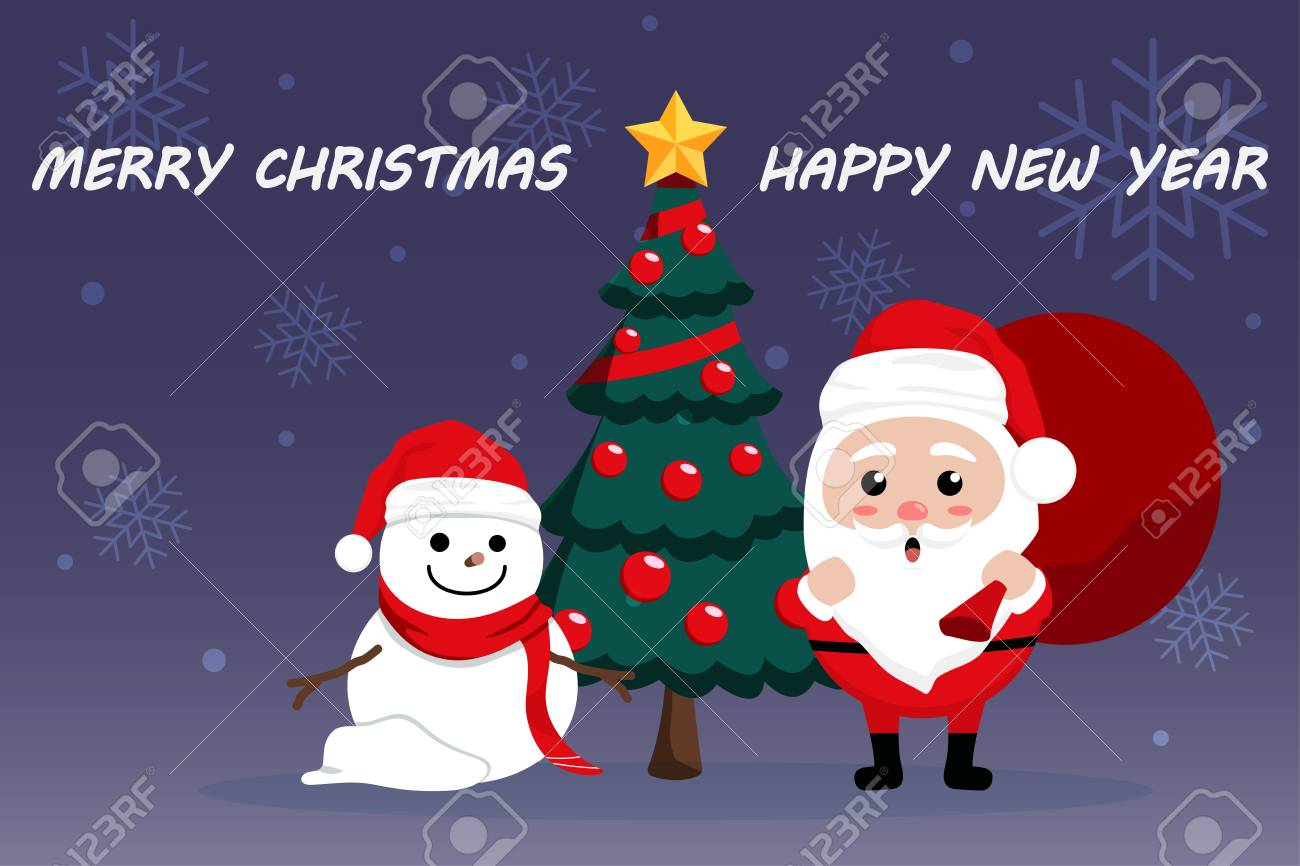 Character Cartoon Cute Christmas Day , Merry Christmas Happy ...
