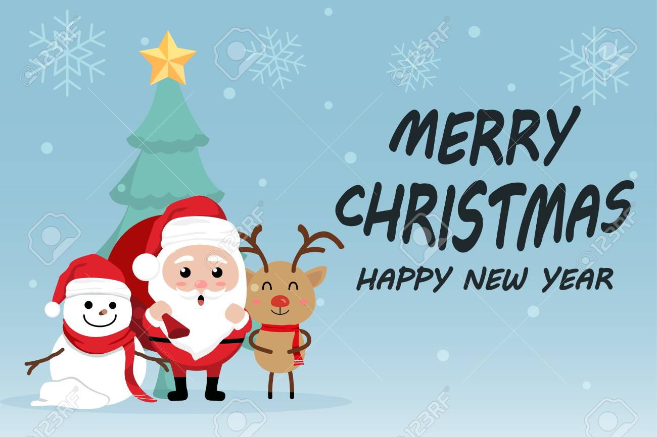 character cartoon cute christmas day merry christmas happy new year festival santa claus with