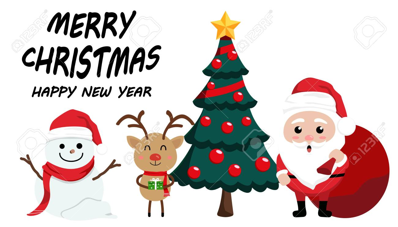Character Cartoon Cute Christmas Day Merry And Happy New Year Festival Santa Claus