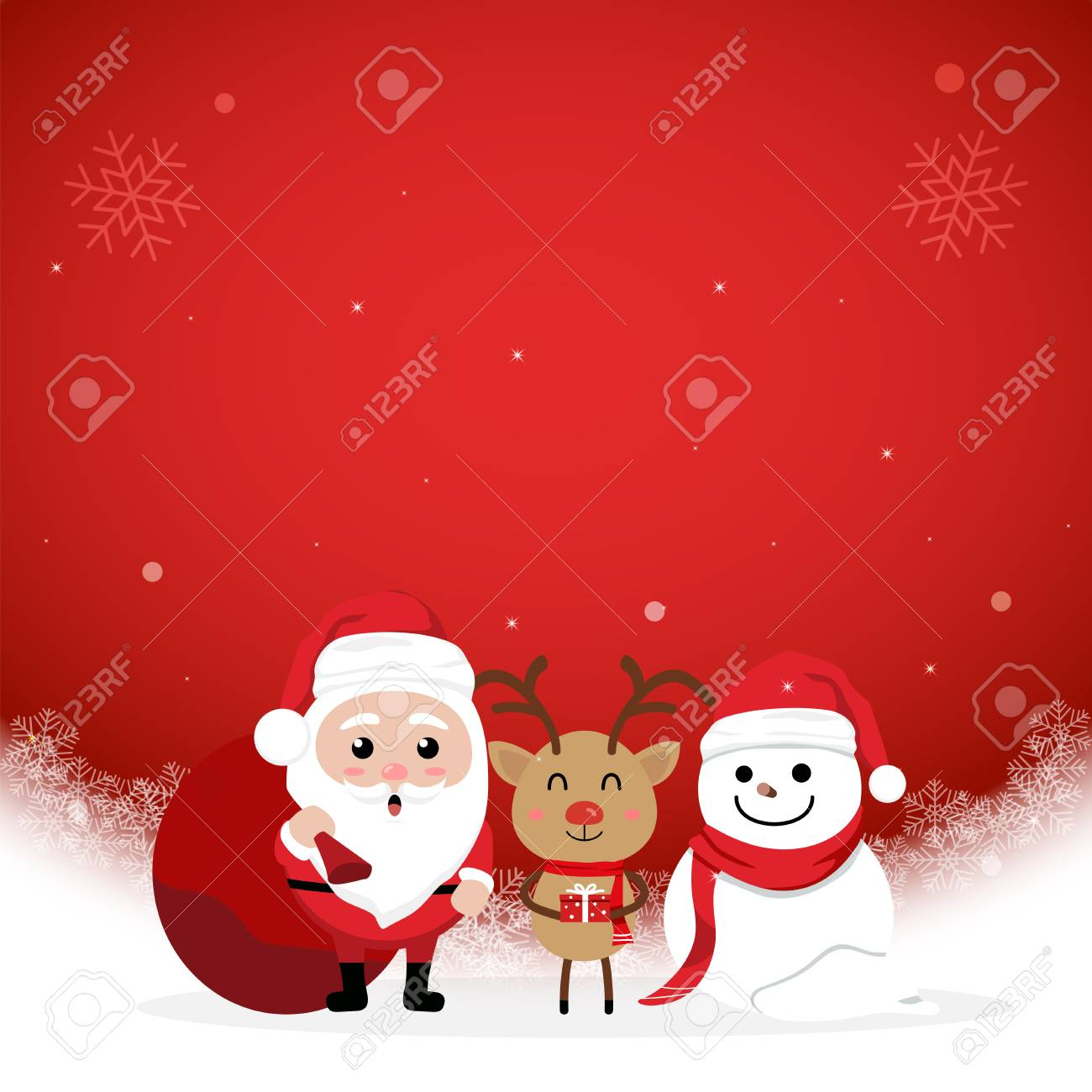 Character Cartoon Cute Christmas Day. Merry Christmas And Happy ...