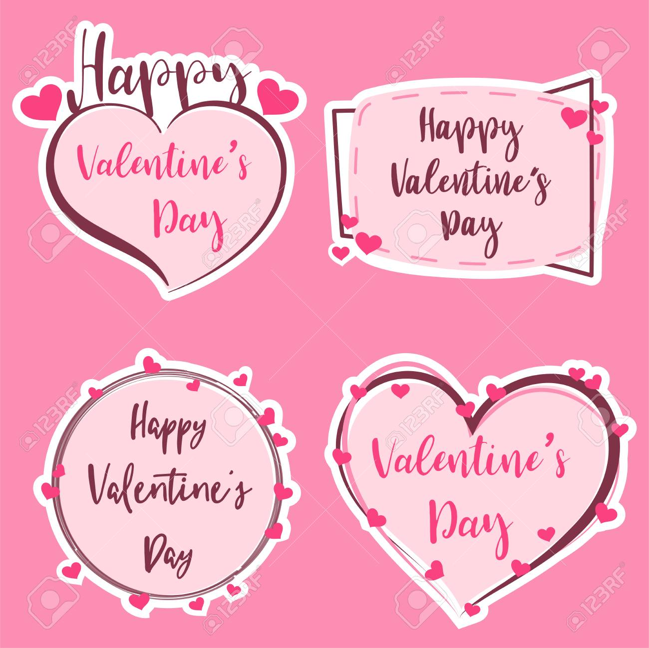 Cute Sticker Happy Valentine S Day Banner Valentine Art Heart