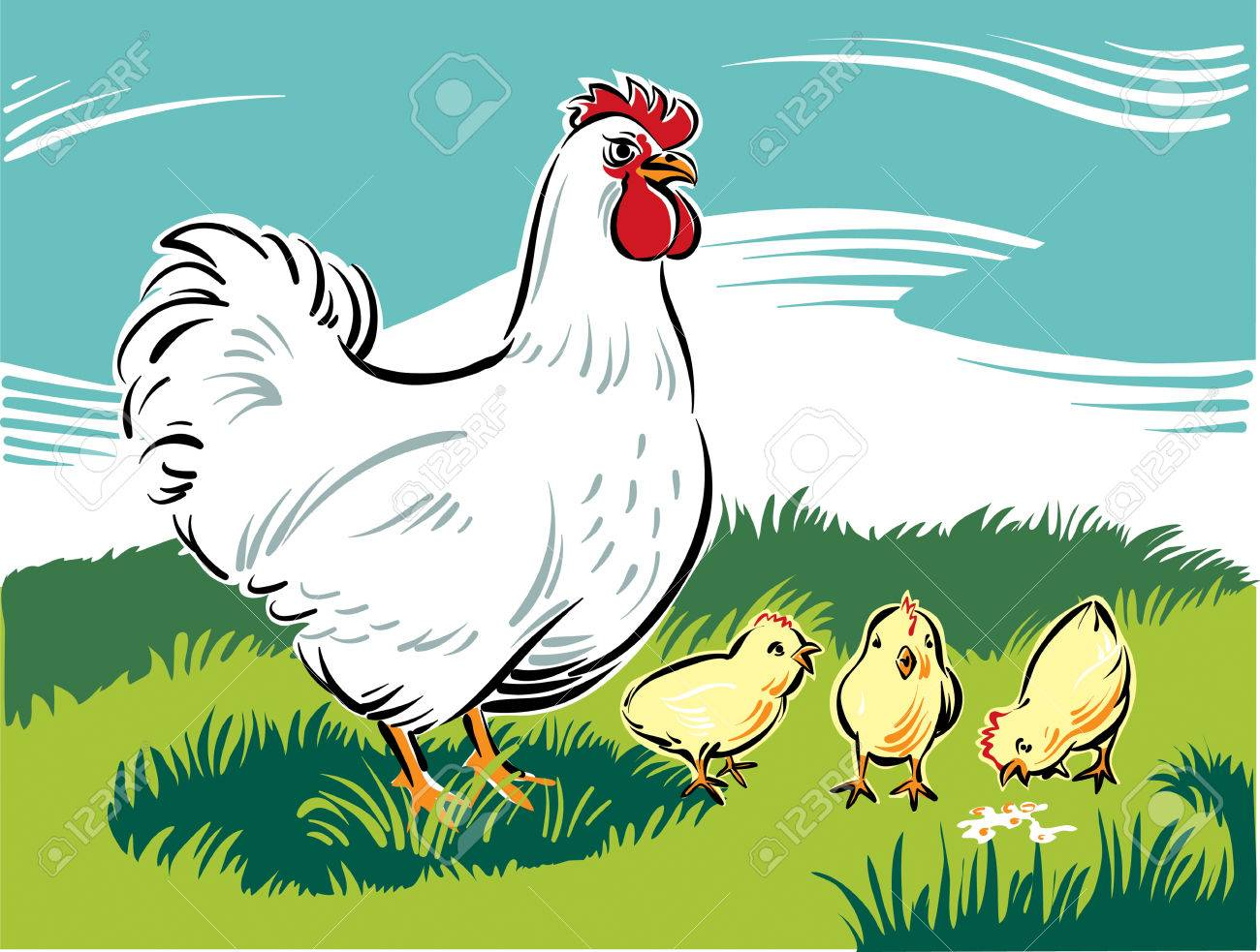 Hen Chicks Teaches How To Find Food Royalty Free Cliparts Vectors