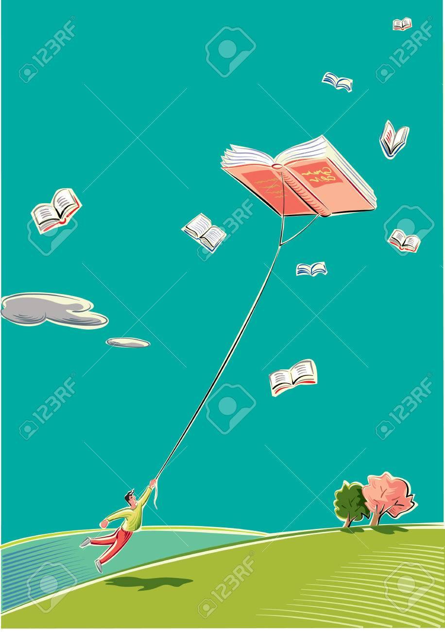 Un Jeune Homme Est Tire D Un Livre Qui Vole Haut Dans Le Ciel Comme Un Cerf Volant