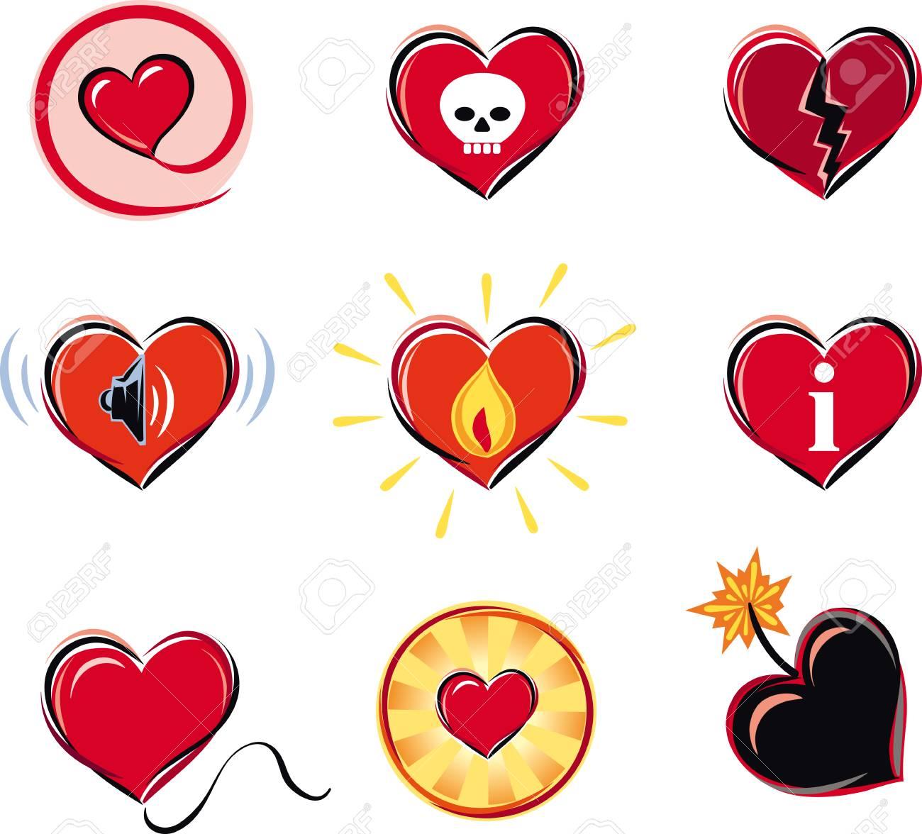Series Of Heart Shaped Symbols Royalty Free Cliparts Vectors And