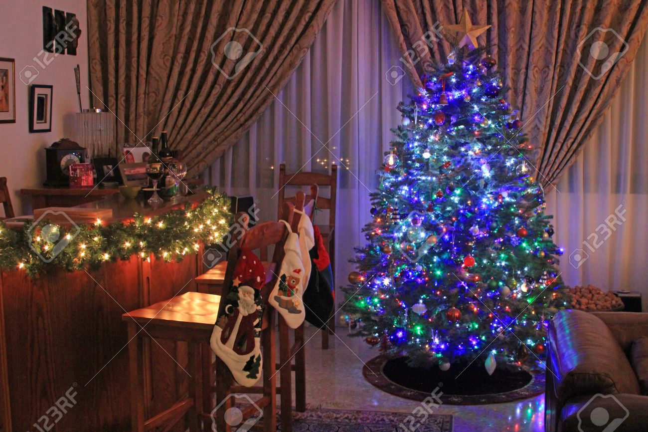 Festive Christmas Tree Decorated With Blue Lights And Baubles Stock Photo Picture And Royalty Free Image Image 34133466