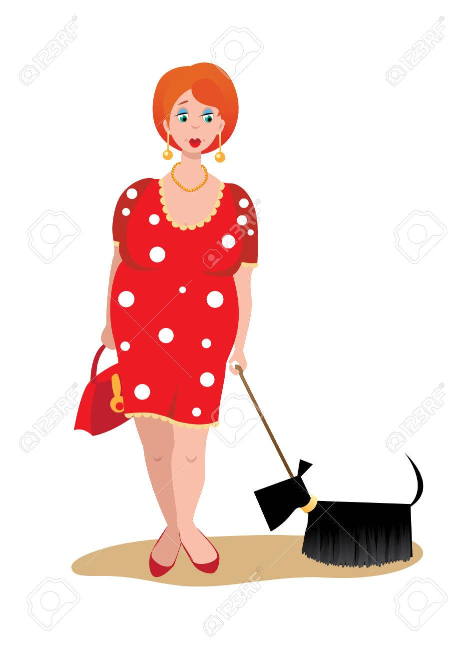 A fat woman with a dog on a white background Stock Vector - 7072249