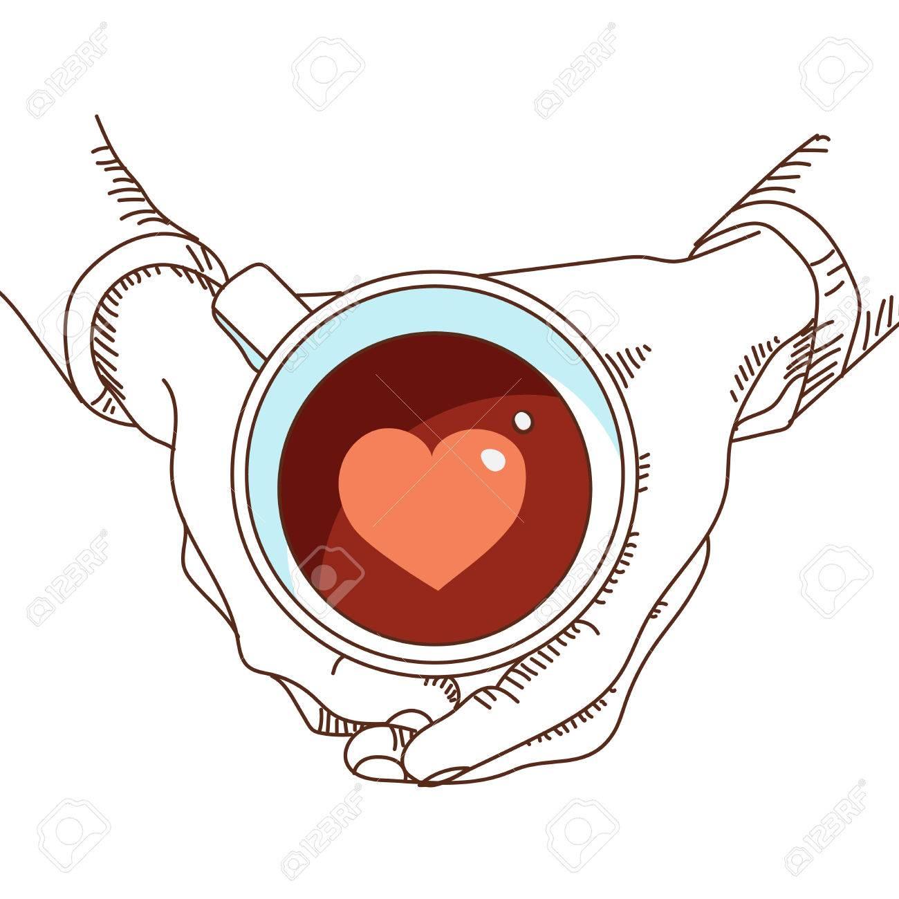 Taza Con Té Y Café En La Mano Y El Corazón En El Interior Con El