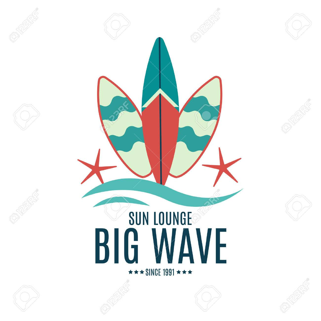 vector retro style surfing labels logos or t shirt graphic design