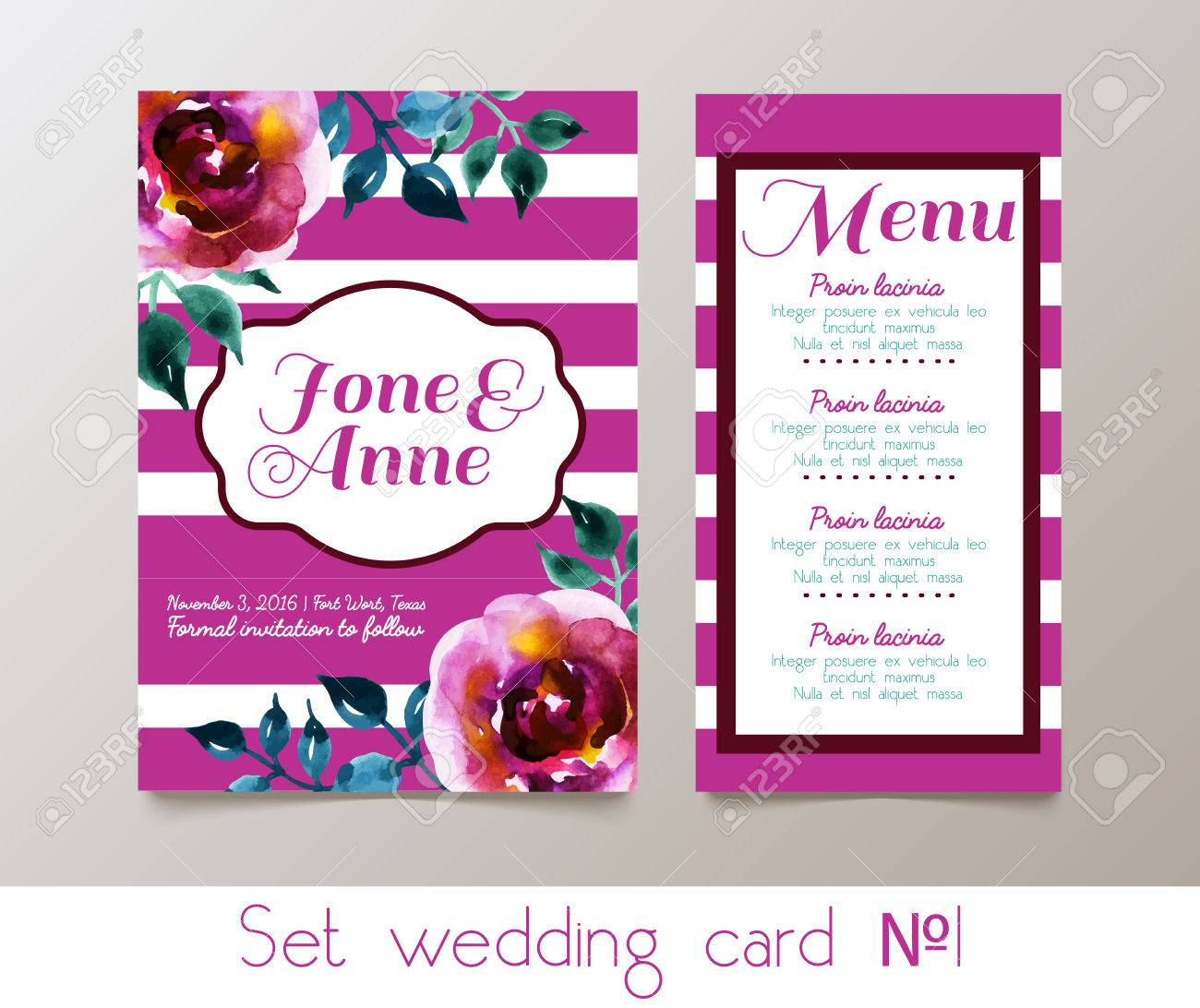 A Set For Weddings And Bachelorette Party Invitation, Thank You ...
