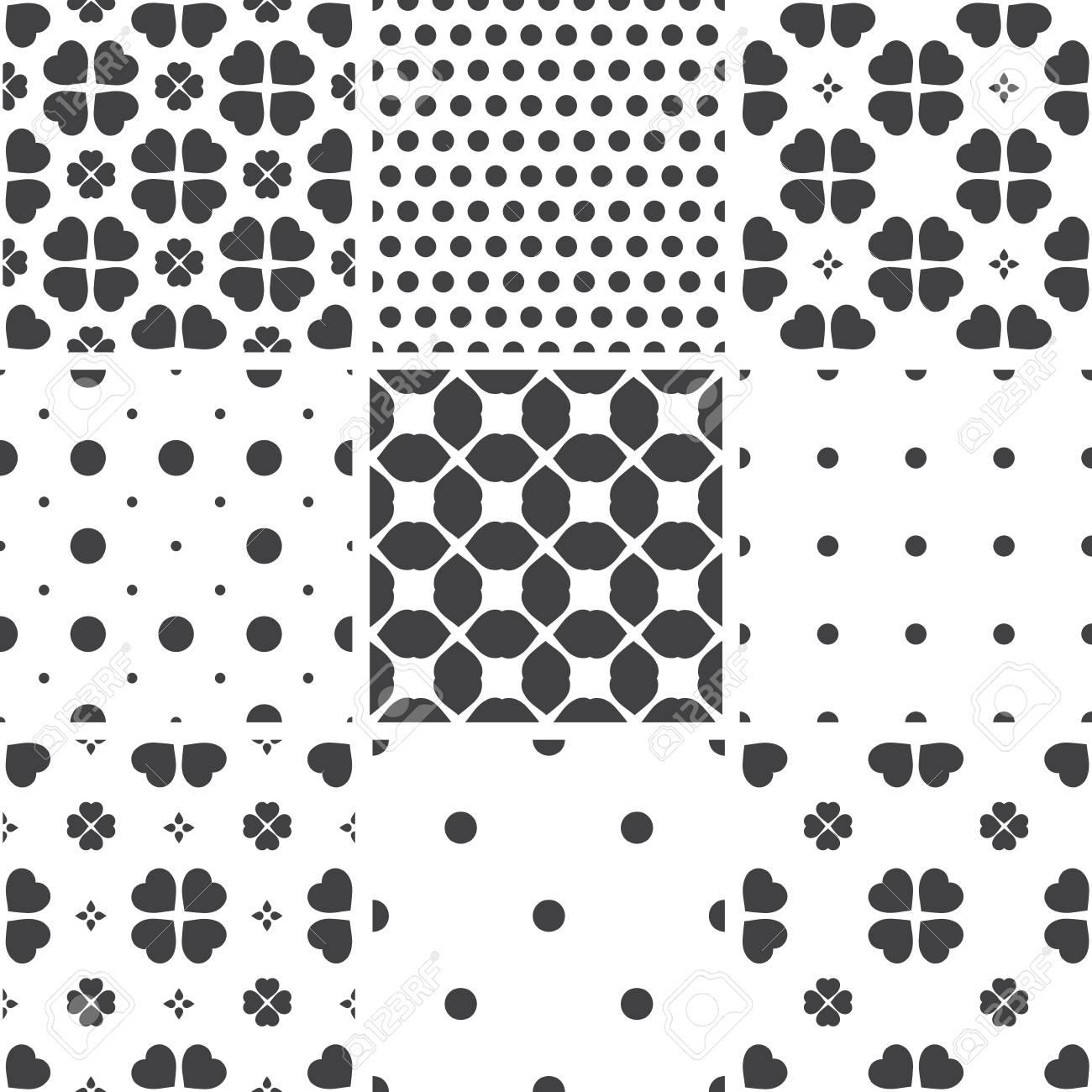 Conjunto De Blanco Y Negro Geométrico Patrones Universales Sin ...