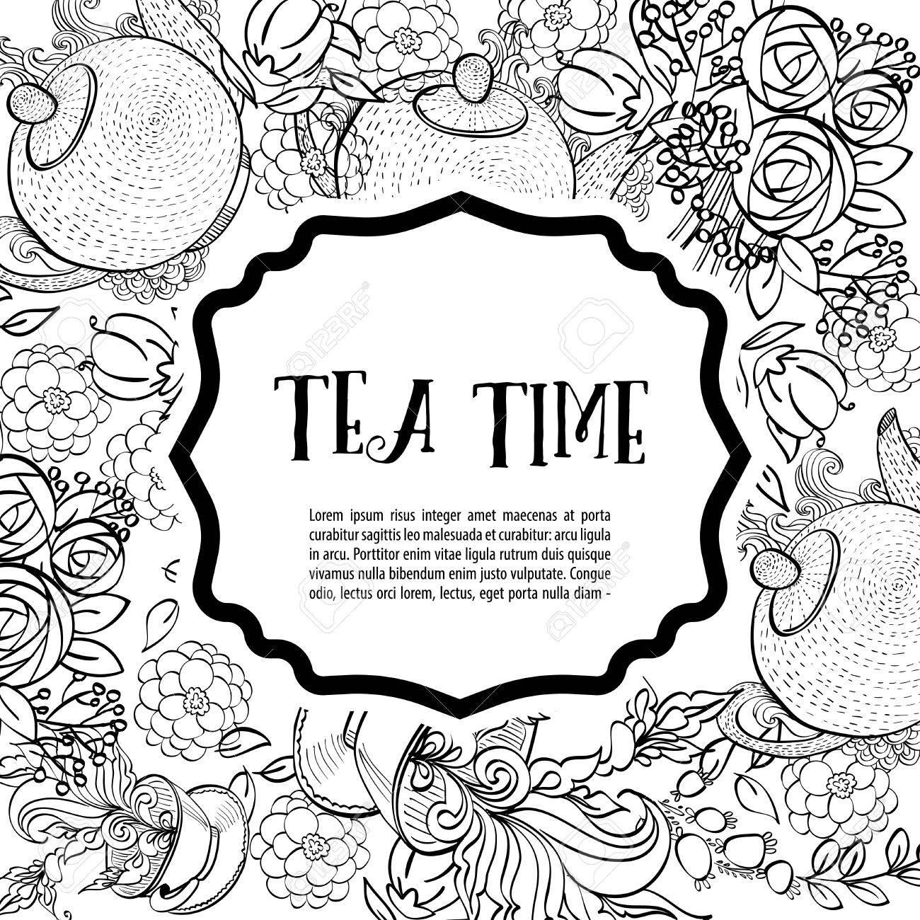 Es Hora De Tomar El Té La Tarjeta De La Moda En Blanco Y Negro Cuadrado Invitación Del Partido Estilo De Dibujo A Mano