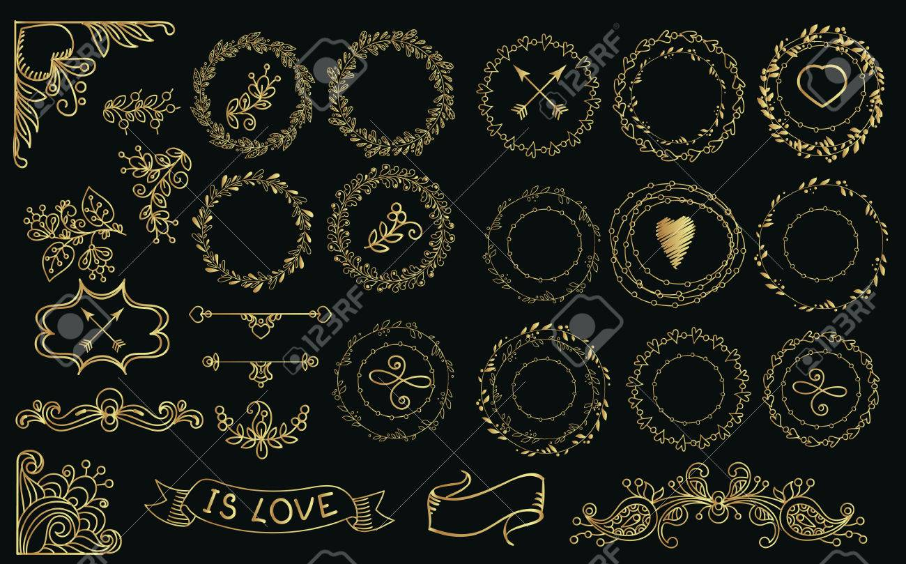Collection Handdrawn Gold Laurels And Wreaths Floral Wreath