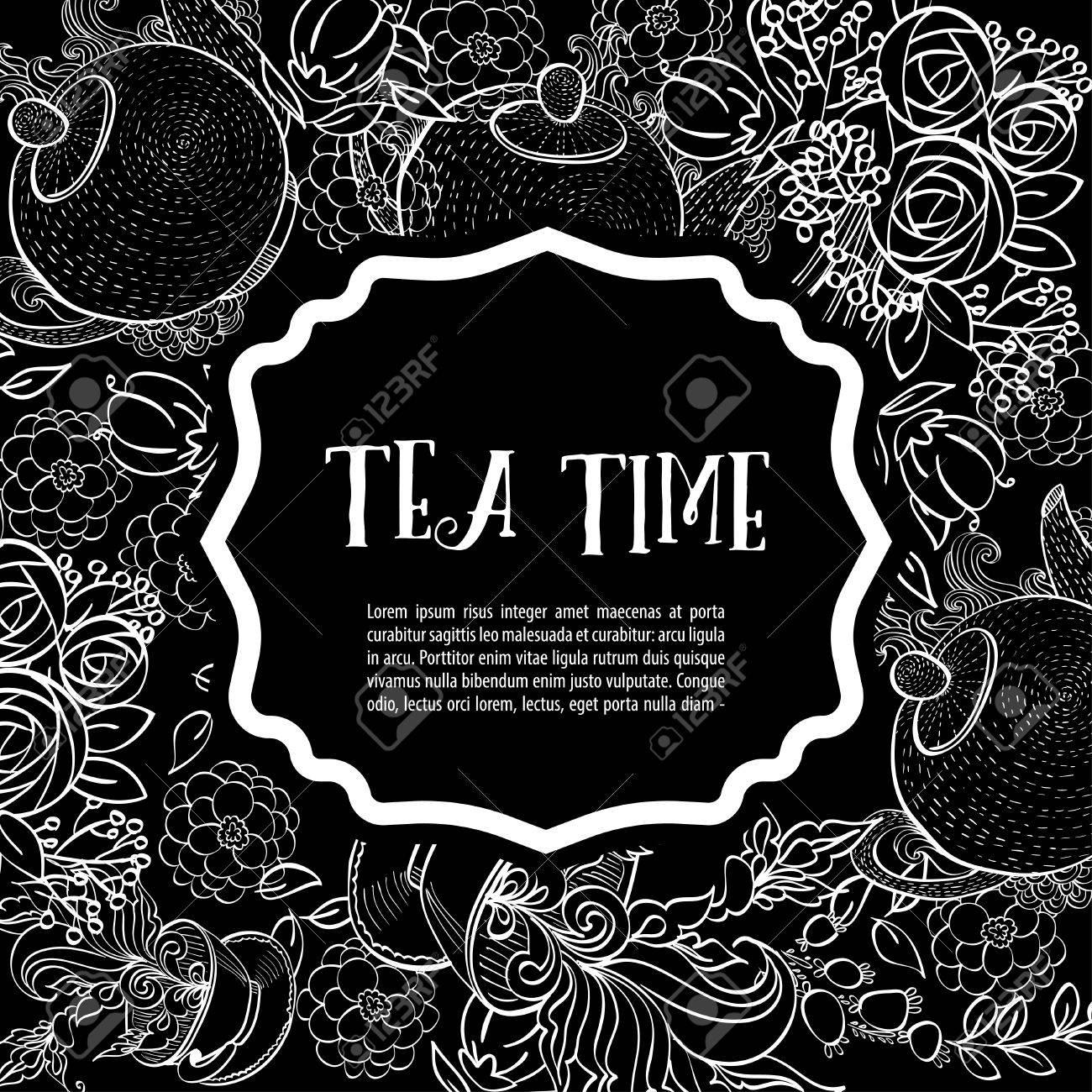 Es Hora De Tomar El Té La Moda Cuadrado Tarjeta Blanca Invitación Del Partido Estilo De Dibujo A Mano
