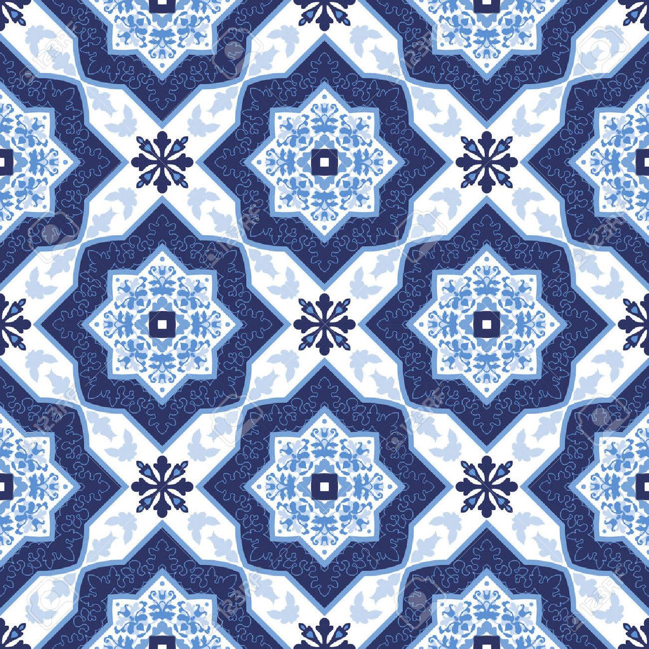 Portuguese azulejo tiles. Blue and white gorgeous seamless patterns. For scrapbooking, wallpaper, cases for smartphones, web background, print, surface textures. Stock Vector - 51976294