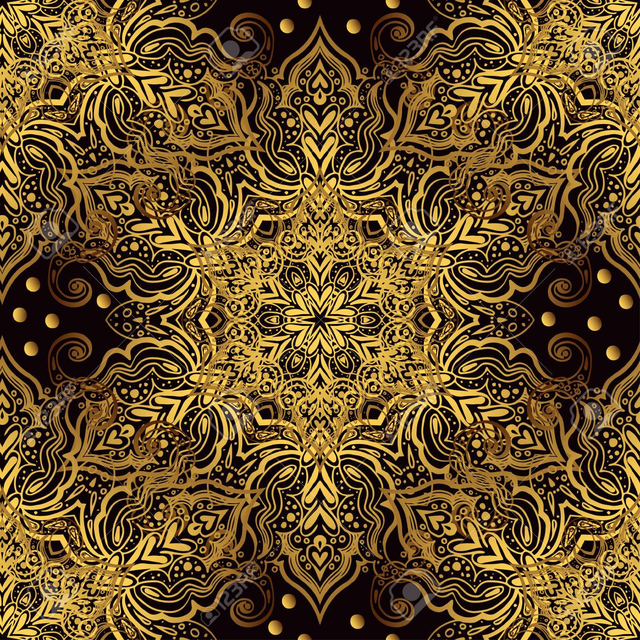 Vintage Luxury Background With A Black Backdrop And Gold Ornaments ...