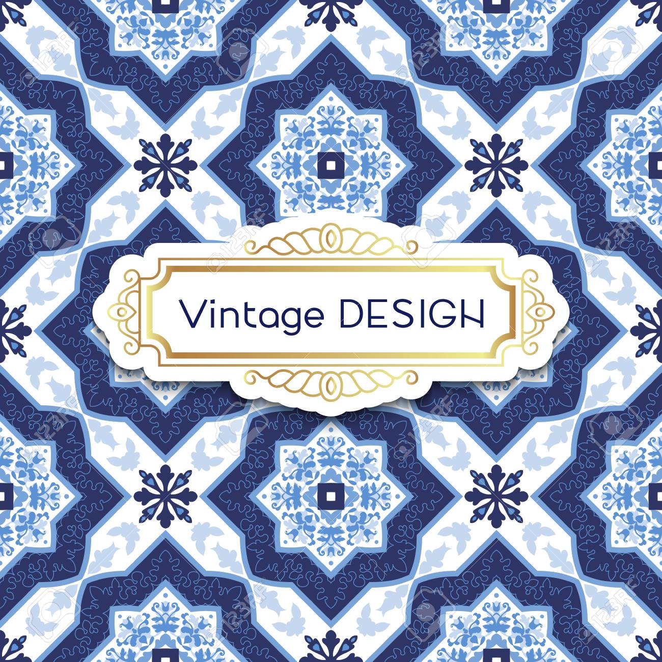 Antique, vintage background azulejos in Portuguese tiles style...