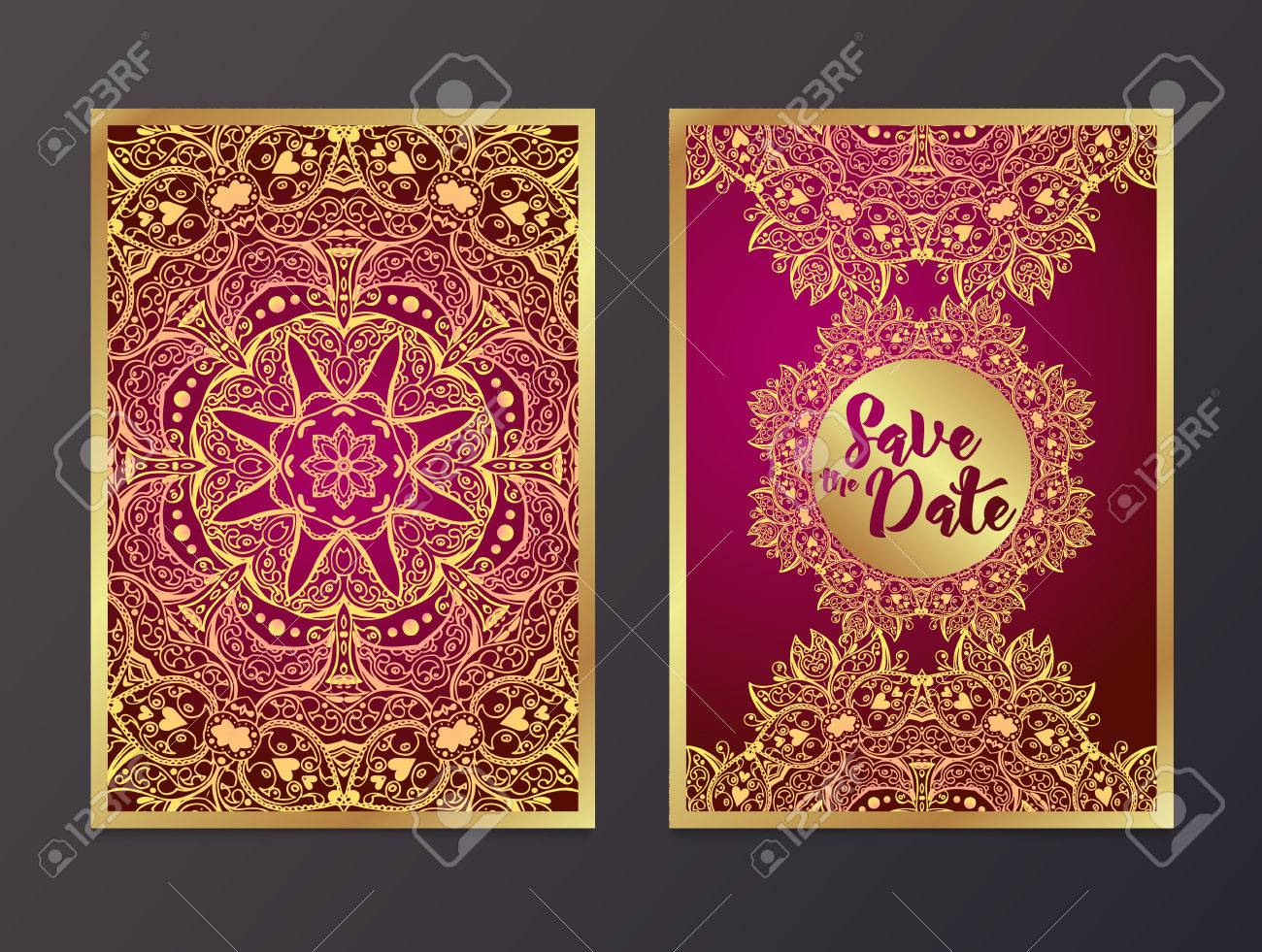 Rich Wedding Invitations, Indian Style. Royalty Free Cliparts ...